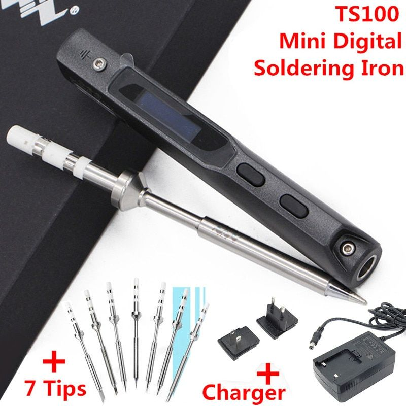 7PCS Tips + Charger + MINI TS100 Digital Soldering Iron Station OLED Programable Interface DC5525 Built-in STM32 Chip Tools Set