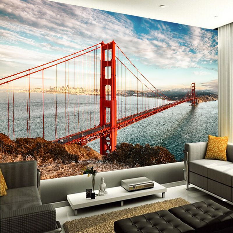 Custom any size 3D wall mural wallpapers Modern fashion Golden Gate Bridge  3D Perspective Wallpaper Wall Sticker YBZ087