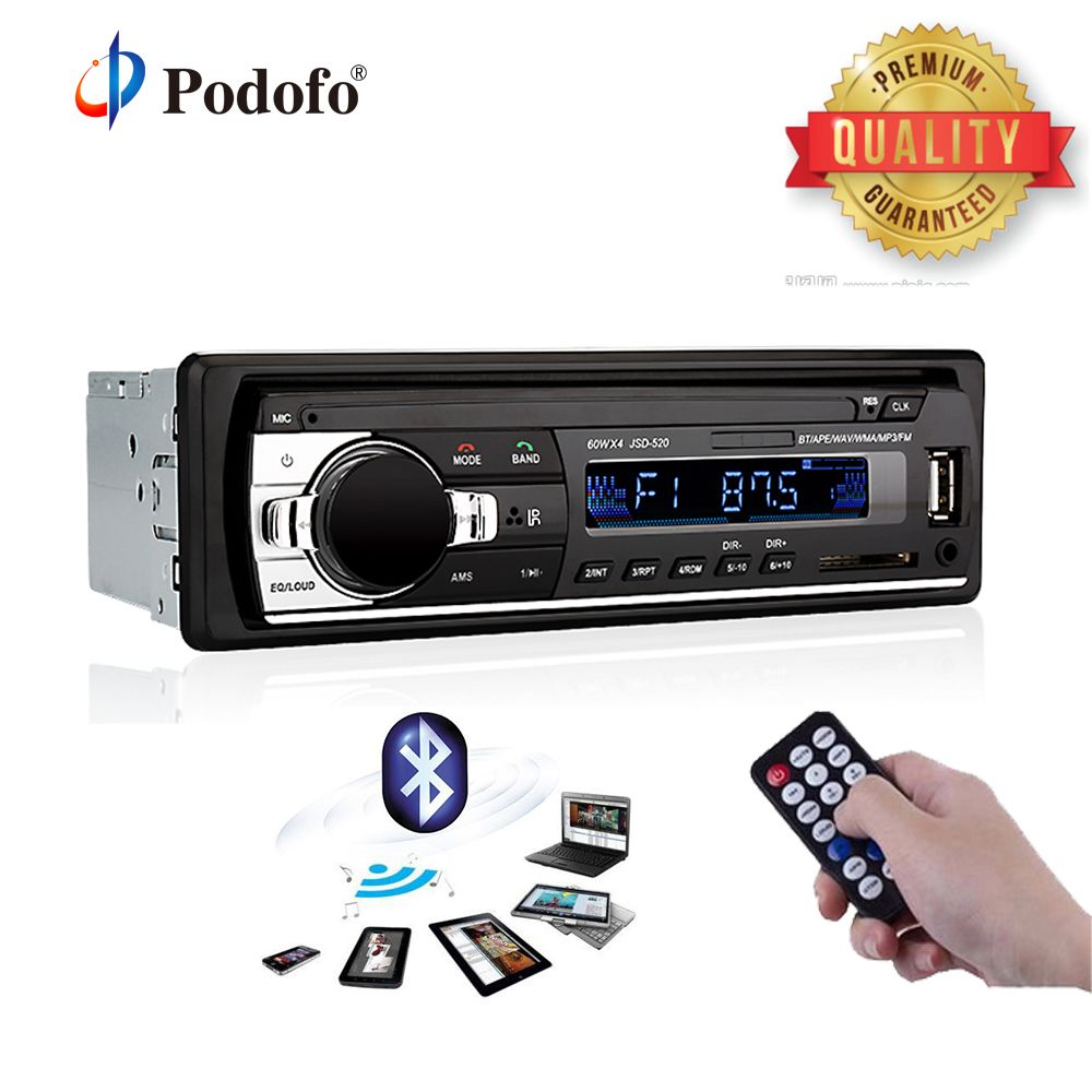 Podofo JSD-520 Bluetooth Car Radio V2.0 12V In-dash 1 Din Stereo Autoradio Player AUX-IN MP3 FM SD USB SD Car audio Player