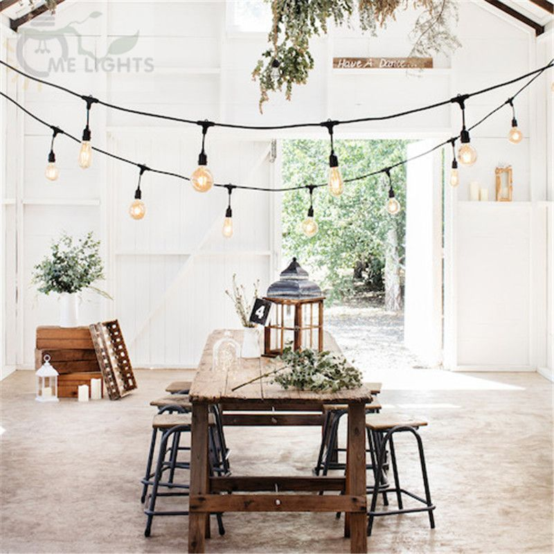 10m Drop String Festoon lights with 10 Vintage LED Fairy Bulbs Lights for Wedding Party Garden Cafe Bar Garland Decoration