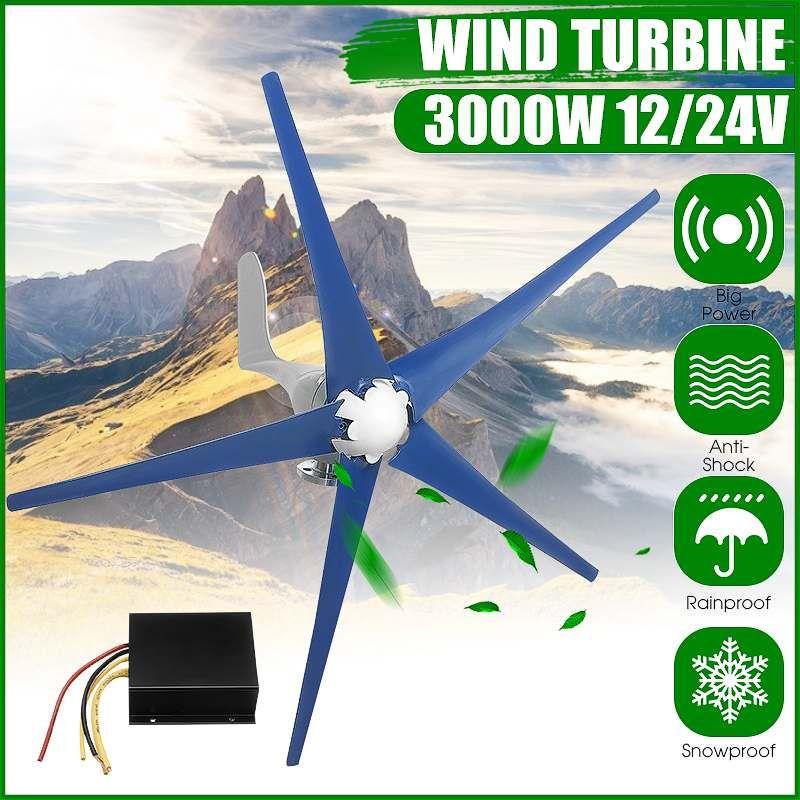 3000 W 5 Klingen Wind Turbinen Generator 12 V/24 V Horizontale Wind Generator Mit Controller Windmühle Energie Turbinen ladung