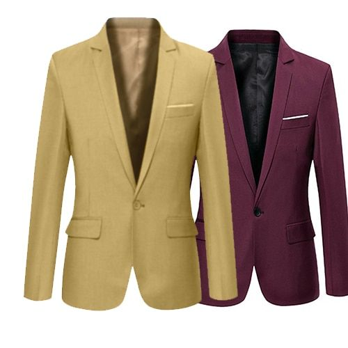Men's Solid Color Step Collar Slim Blazer Formal Business Wear One Button Suit