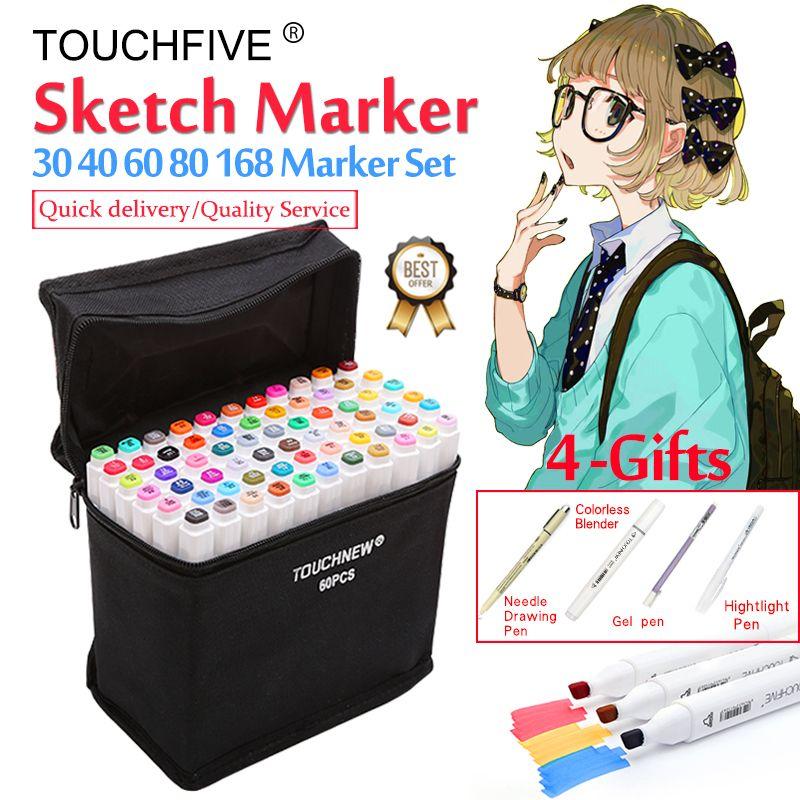 Touchfive marqueur 30/40/60/80/168 couleurs Art marqueurs Set double tête à base d'alcool croquis pinceau marqueur stylo pour artiste dessin Manga Animation