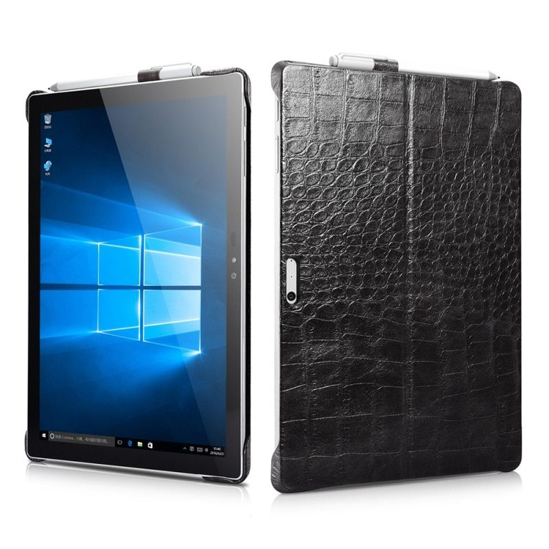 ICARER Fundas for Microsoft Surface Pro 4 Leather Cases Genuine Leather Coated PC Phone Cover Shell with Kickstand