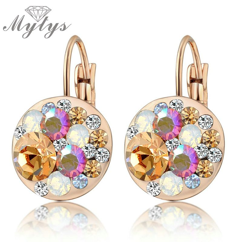 Mytys Multi-color Dangles Crystal Huggie Hoop Earrings rose Gold Gp E629