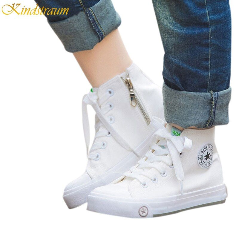 Kindstraum Classic Canvas Shoes for Boys & Girls Spring Children Vintage  High Top Casual Shoes Kids Fashion Sneakers, HJ157