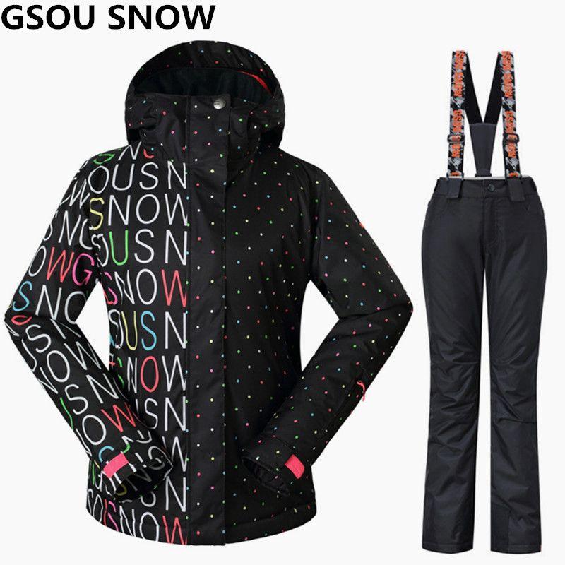Gsou Schnee Frauen Skianzüge Winter Snowboard Jacken und Hosen Winddicht Wasserdicht Bunte Weibliche Outdoor-sportarten Skifahren Sets