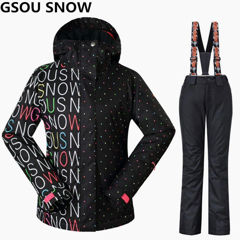 Gsou Snow Women Ski Suits Winter Snowboarding Jackets and Pants Windproof Waterproof Colorful Female Outdoor Sports Skiing Sets