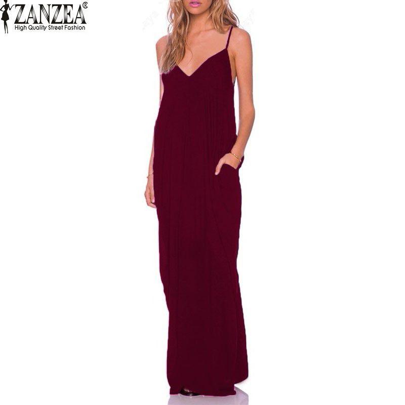 3 couleur 2019 été décontracté Vestidos femmes sans bretelles longue Maxi robe de plage Sexy col en V sans manches longue Maxi Baggy robe grande taille