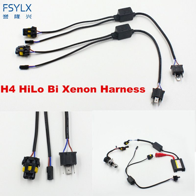 FSYLX 2pcs Universal H4 Hi-Lo Relay Wiring Harness HID Xenon Ballast Cables Wire Connector for One Auto Motor Headlamp Light