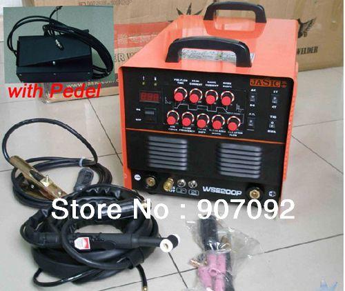 Hohe Qualität JASIC WSE-200P TIG200P AC/DC TIG/MMA Rechteckimpuls Inverter-schweißgerät 220-240 V mit Fußschalter Pedal 2 + 3 Pins