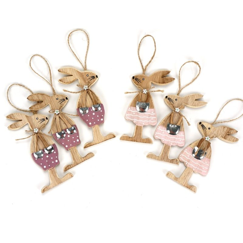 Easter decoration 6pcs/set Easter rabbits party diy decoration handmade wood craft festival gift beautiful bunny happy easter