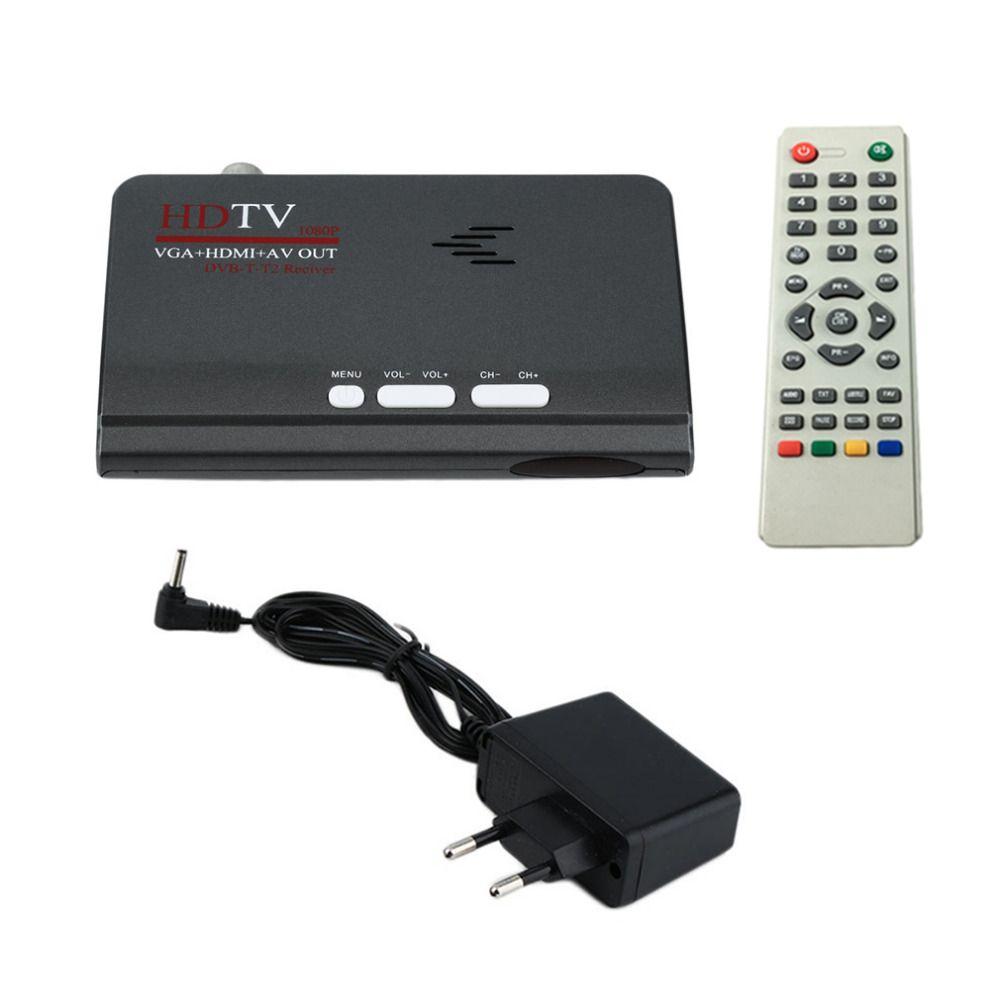 ЕС Digitale наземного HDMI 1080 P dvb-t/T2 ТВ коробка VGA AV CVBS тюнер на ТВ гнев Met afstandsbediening HDMI HD 1080 P VGA DVB-T2