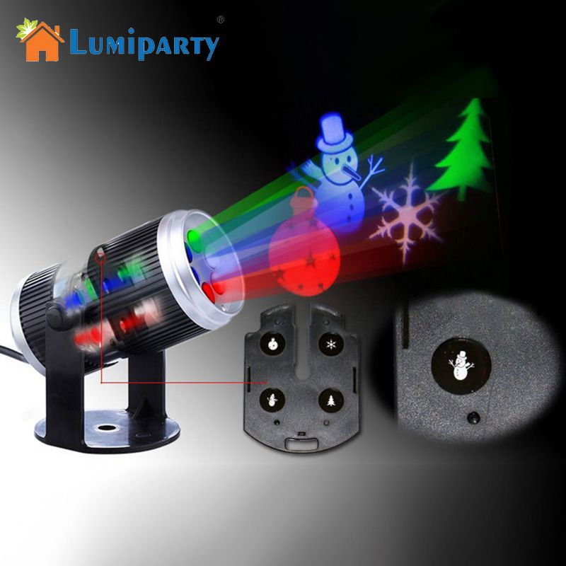 LumiParty 6 Types Holiday Decoration Stage Light Christmas Party Laser Snowflake Projector Outdoor LED Disco Light  For Home