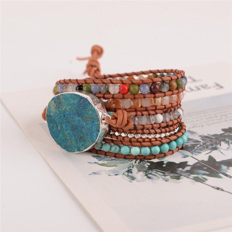 Latest 2018 - 5X Leather Wrap Beaded Bracelet Huge OceanStone Bracelet, Boho Chic Jewelry, Bohemian Bracelet Valentine's Gift!