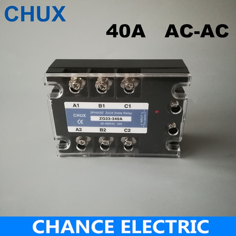40A Three Phase Solid State Relay AC control AC 70-280VAC to 90-480VAC Free shipping SSR 40AA