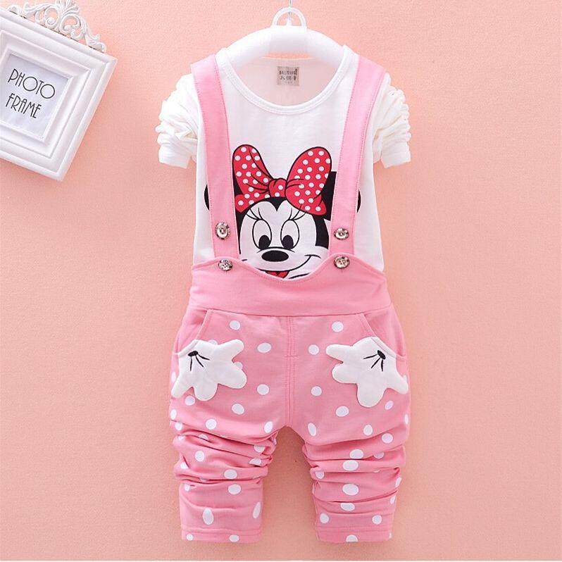 CNJiaYun Minnie bébé filles vêtements ensembles printemps coton enfants ensembles chemise complète bretelles pantalon 2 pièces enfants vêtements ensemble