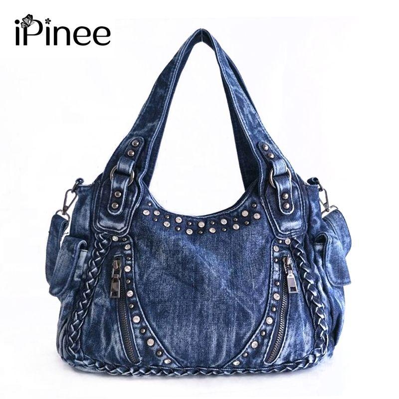 iPinee Brand Women Bag 2018 Fashion Denim Handbags Female Jeans Shoulder Bags Weave Design Women Tote Bag