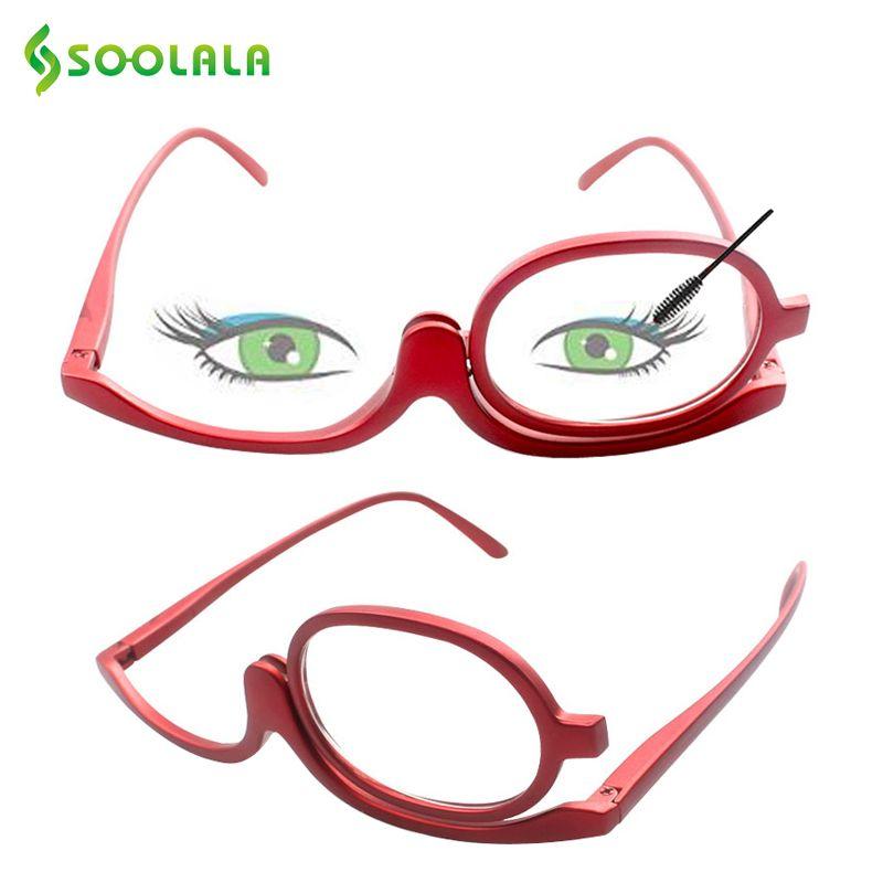 SOOLALA 180 degrés rotatif maquillage lecture lunettes monoculaire cosmétiques lunettes de mode femmes lunettes avec un Flip Up lentilles