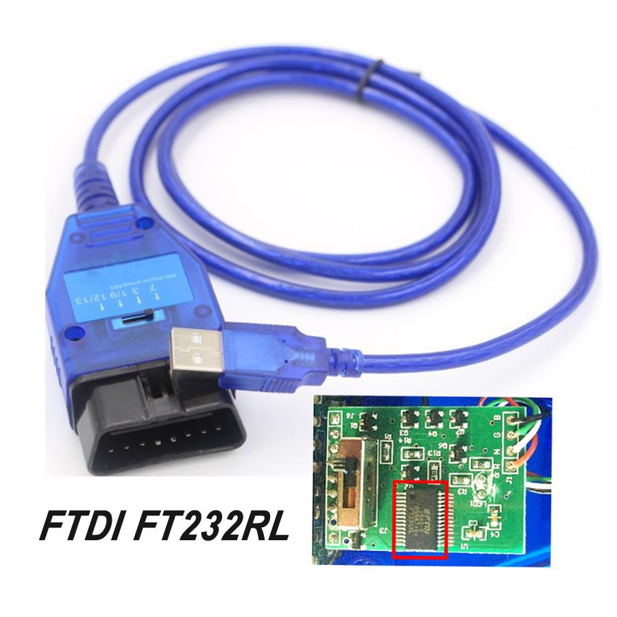 2019 New FTDI FT232RL Chip Auto Car Obd2 Diagnostic Cable for VAG USB for Fiat VAG USB Interface Car Ecu Scan Tool 4 Way Switch