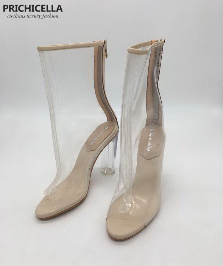 prichicella women's fashion transparent open toe high heel summer bootes sandals