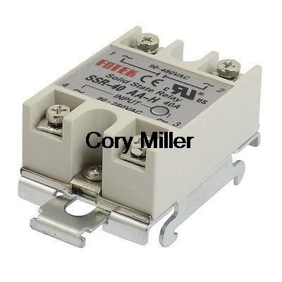 35mm DIN Rail Mount AC Control 40A Solid State Relay SSR SSR-40AA-H 80-280V