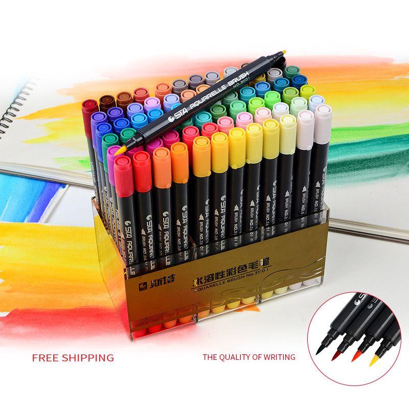 80 couleurs Art et Graphique Dessin Manga À Base D'eau Pigment Encre Twin Tip Brosse et Pointe Fine Sketch Marker Pen aquarelle Brosse Stylo