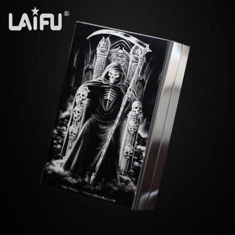 LAIFU Personnalisé ultra mince automatique étui à cigarettes king mort mâle métal e cigarettes boîtes laser conçu fumée accessoires