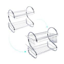 2 Tingkatan Rak Pengeringan Piring Rumah Cuci Pemegang Keranjang Besi Berlapis Besar Kitchen Sink Dish Drainer Pengeringan Rak Organizer