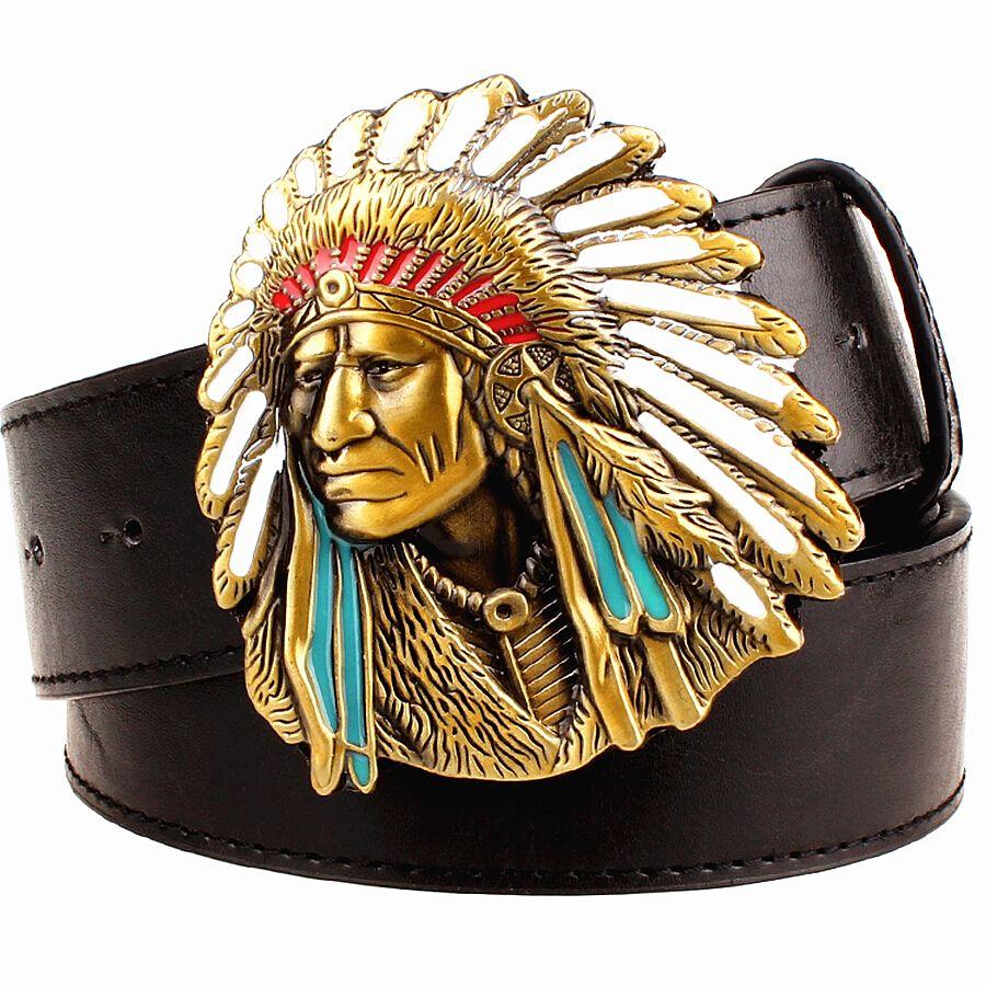 Mode hommes ceinture west cowboy ceinture pour hommes punk rock ceintures style exagéré indien chef tête hommes ceinture en cuir hip hop ceinture