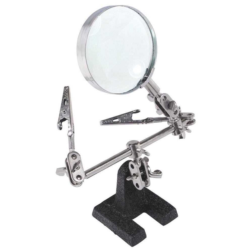 Support à souder pour outil de troisième main facile à transporter avec loupe 5X bras de verrouillage réglables rotatifs à 360 degrés