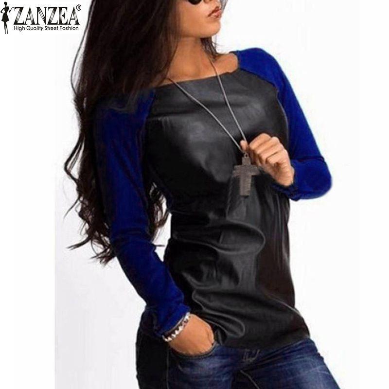 Blusas Femininas 2018 Autumn Women Tops Shirts Long Sleeve PU Leather Patchwork Blouses Fashion Casual Loose Plus Size