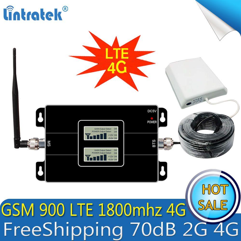 Lintratek GSM 900 4G LTE 1800 Repeater GSM 1800mhz Mobile Signal Booster 65dB Dual Band Repetidor Celular