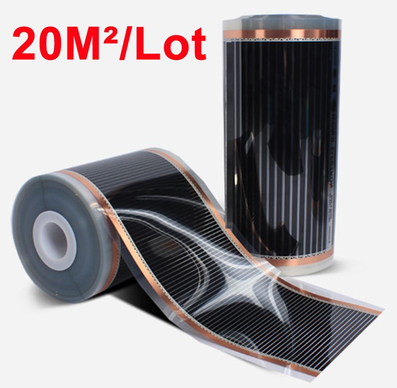 Hot 20m2 Electric Underfloor Heating Films Width 0.5M * 40M 220V/230VAC Home Warming Mat Surface Temperature 40-50 Degree C