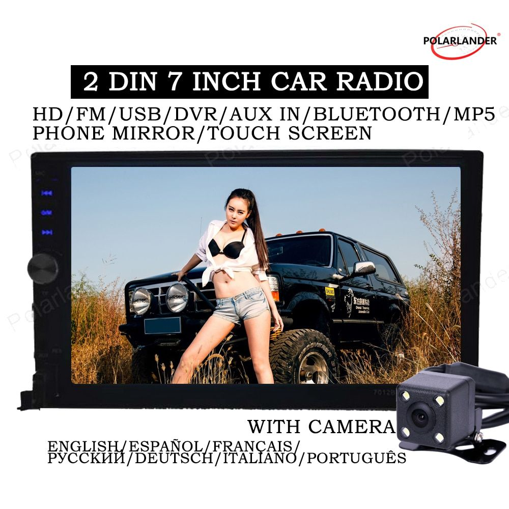 12V with <font><b>rear</b></font> view camera Bluetooth 2 din stereo Auto Electronics In-Dash for most car 2018 new 7 inch car radio Mirror Link