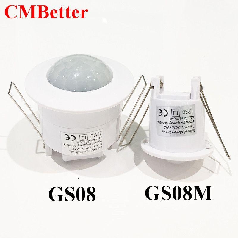 Deux Taille plafond 110 V/AC-240V/AC inlay capteur interrupteur PIR infrarouge, détecteur de mouvement Livraison Gratuite (1 pc GS08/GS08M)