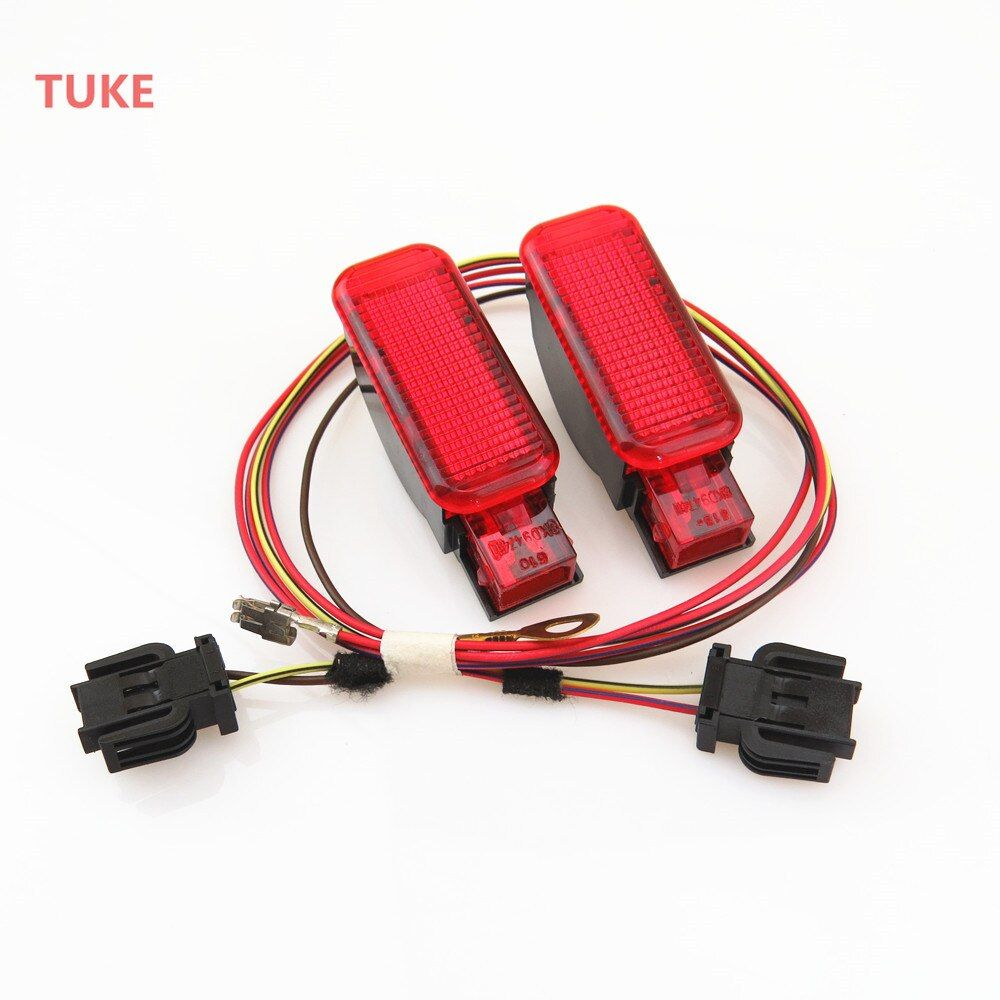 TUKE 1Set Red Warning Light Door Panel Interior + Connection Cable Harness Plug For A3 S3 A6 S6 A4 Q3 Q5 8KD 947 411 8KD947411