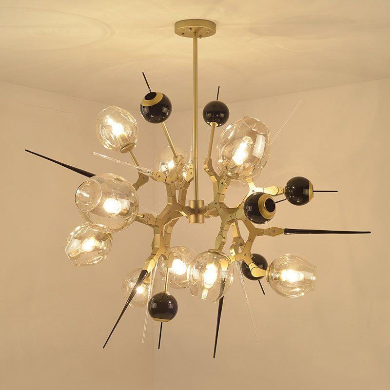 Modern creative Chandelier light 10 head Black Gold aluminum body Nordic amber glass shade E27 bulb Light home art decoration