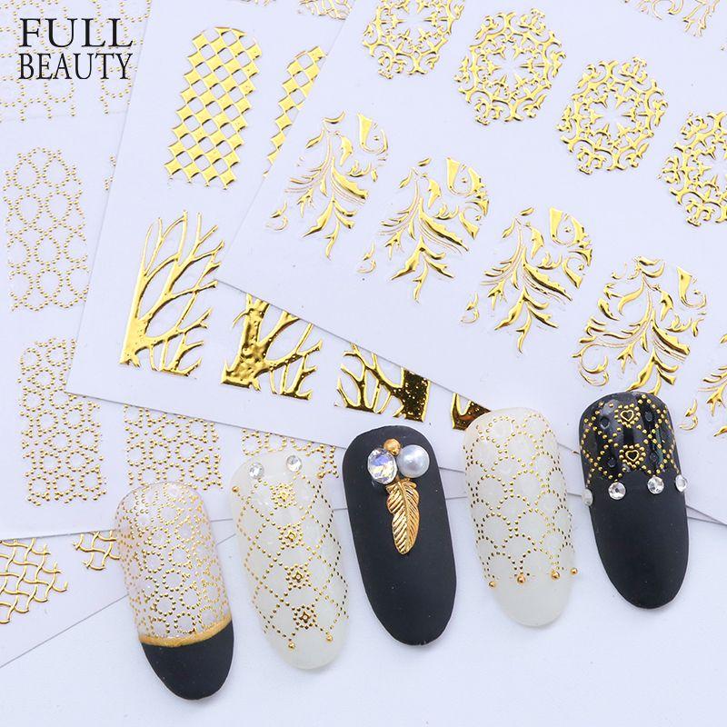 1 stücke 3D Gold Bronzing Abziehbilder Nagel Aufkleber DIY Hallow Klebstoff Blume Volle Gel Polnischen Schmuck Nail art Maniküre CHAD101-106