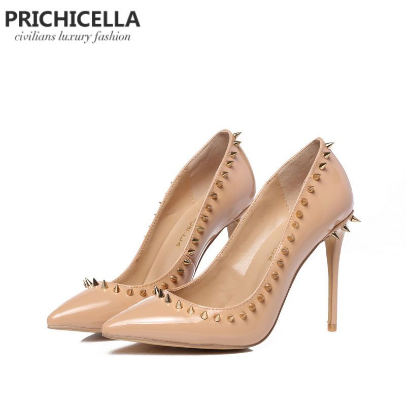 PRICHICELLA nude genuine leather <font><b>pointed</b></font> toe studded pumps rivets high heel dress shoe
