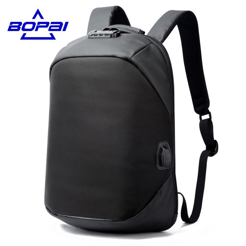 Bopai Роскошные кодовый замок рюкзак для путешествий Бизнес Мужские USB зарядка порт рюкзак anti theft женщины рюкзак водонепроницаемый