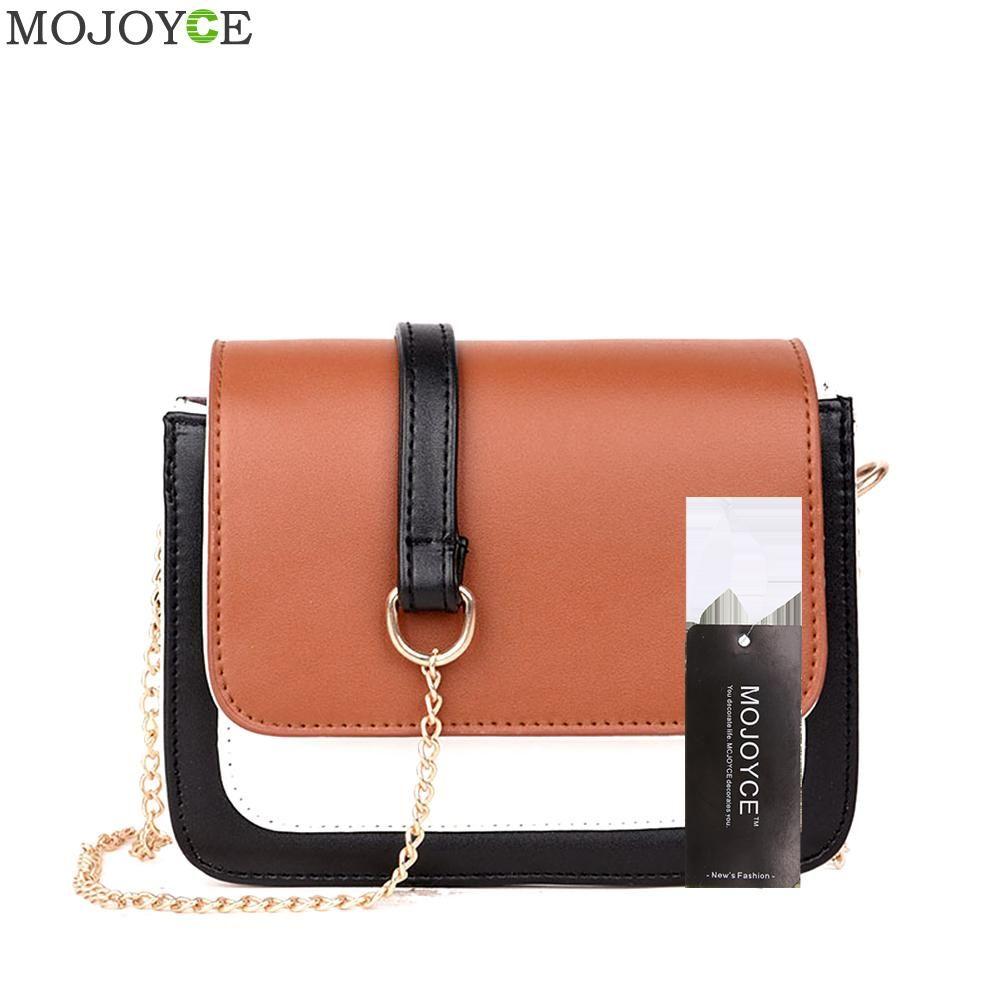 Women Hit Color Messenger Bag Fashion Long Chain Women Bag PU Leather Shoulder Crossbody Bags Ladies Small Beige Flap Handbags