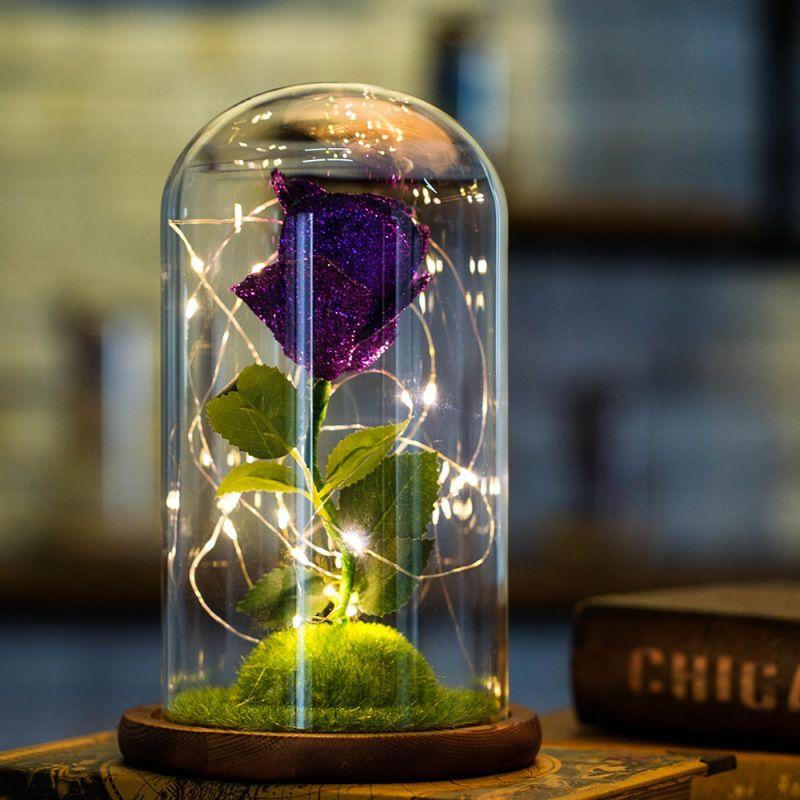 Saint Valentin Cadeau Éternelle Rose Fleur Couvercle En Verre Led Lumière Floral Frais, Conservés Luminescent Artificielle Fleurs