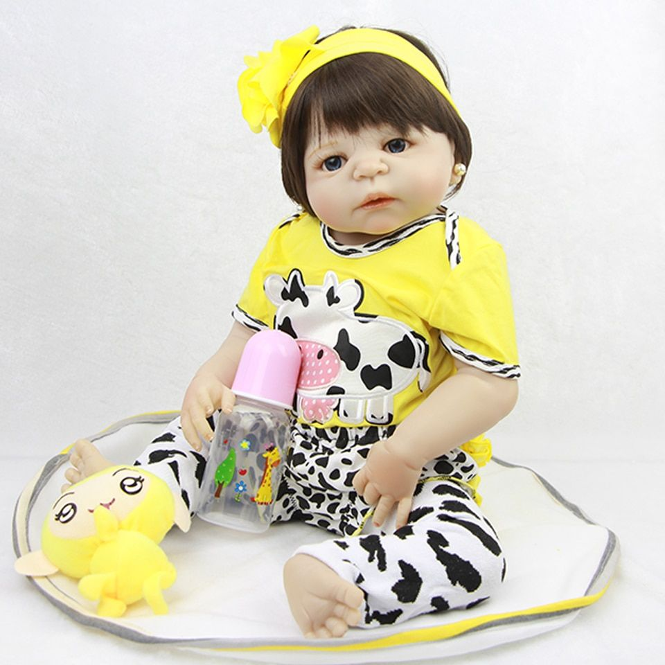 Realistic 23'' Silicone Reborn Baby Dolls wear Clothes Looks So Truly Full Body Vinyl Babies Dolls Cute Fashion Girl Gifts