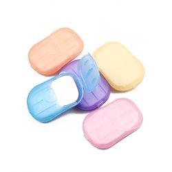 5 cajas/lot (20 unids/caja) conveniente lavado a mano jabón de baño viaje portable perfumado Slice espuma caja de herramientas de papel