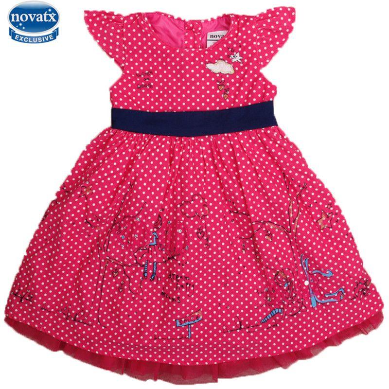 Nova TX h6895 детская одежда Лето рукавов Симпатичные Embriodery Паттен с в горошек платье для девочек детская одежда — новинки Лидер продаж стиль