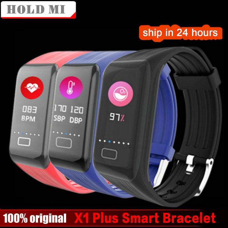 Hold Mi X1 Plus Colorful <font><b>Screen</b></font> Smart Bracelet Blood Pressure Blood Oxygen Heart Rate Monitor Weather Report Activity Smart Band