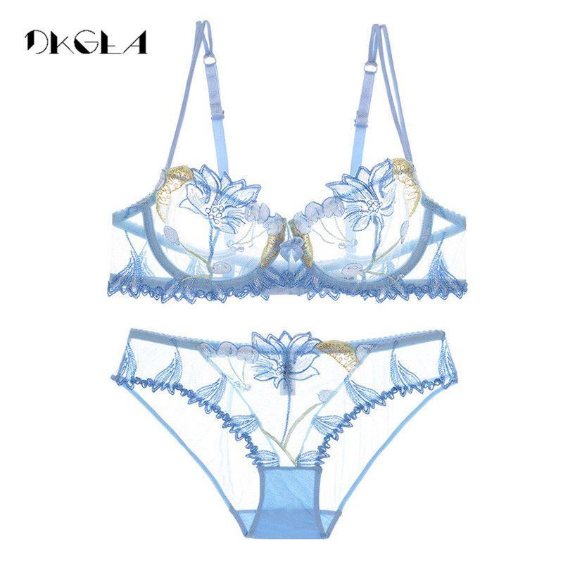 2019 mode fleurs broderie Lingerie ensemble dentelle bleu Transparent ensemble de sous-vêtements femmes Sexy évider voir à travers soutien-gorge rose