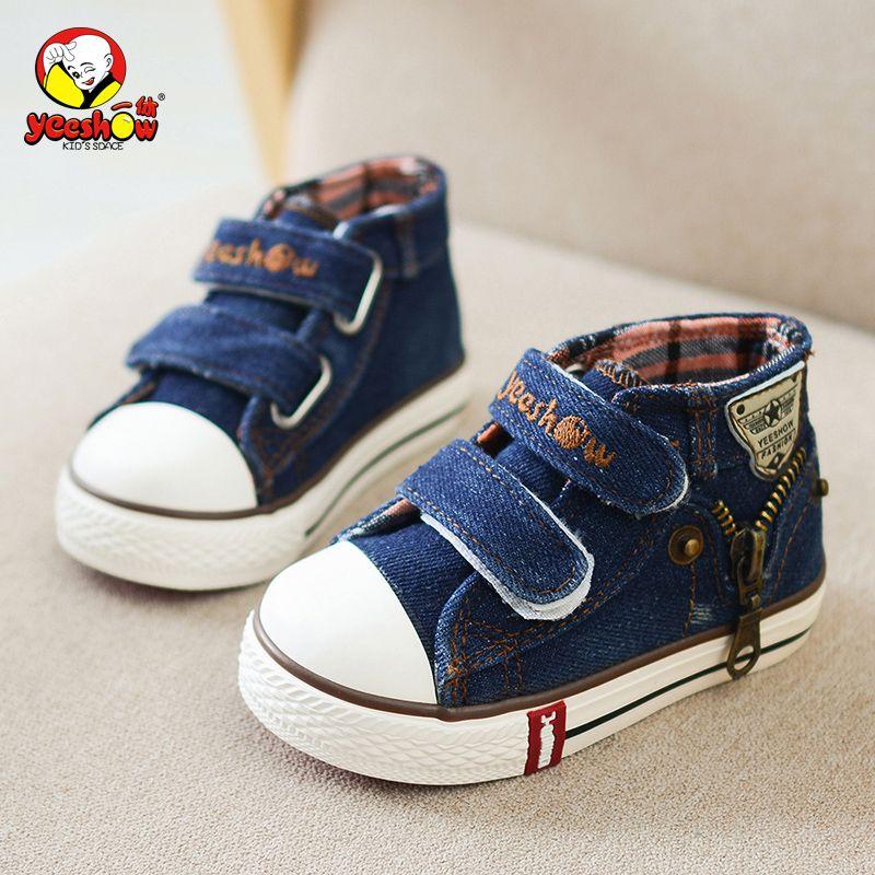Printemps enfants toile chaussures garçons mode baskets enfants décontracté Zipper chaussures filles Jeans Denim plat bottes bébé enfant en bas âge chaussures