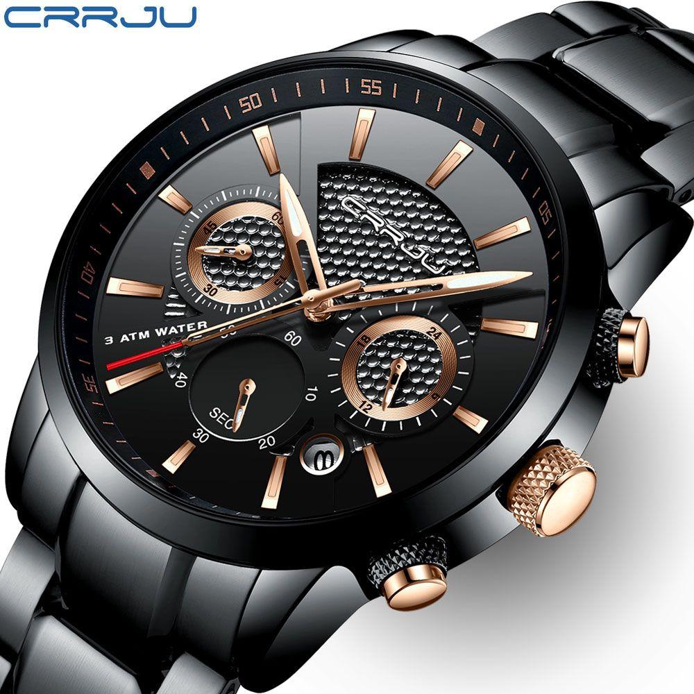 CRRJU Top Marke Luxus Männer Uhr 30 mt Wasserdicht Quarz Uhren Stahl Uhr Chronograph Männer der Freizeit Uhr Saat uhren hombre